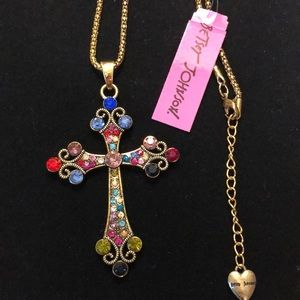 Bronze-tone Betsey Johnson Cross Necklace Easter